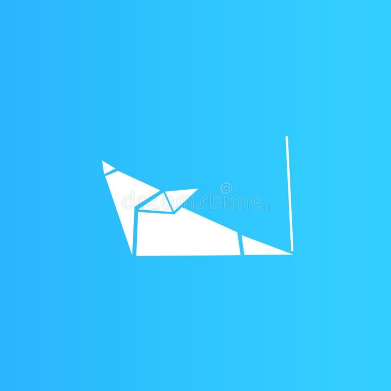 Illustrazione bianca del topo di origami, progettazione semplice fotografia stock