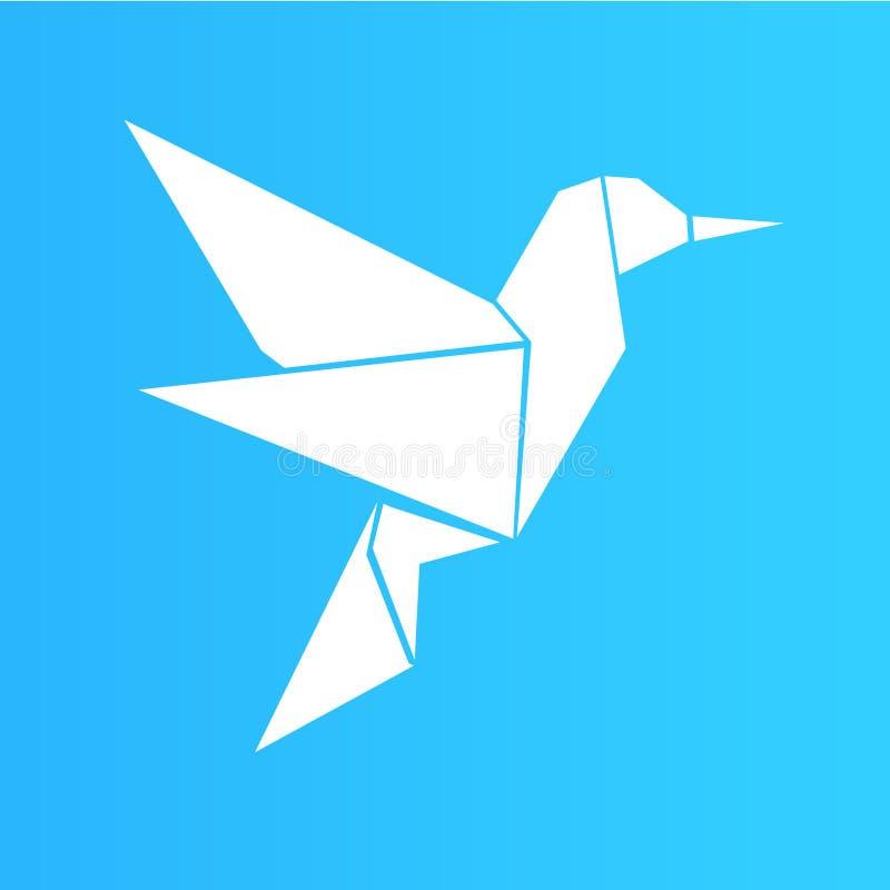 Illustrazione bianca dell'uccello di origami, progettazione semplice fotografia stock