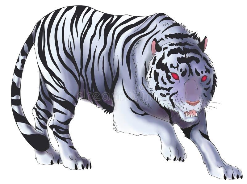 Illustrazione bianca della tigre nel fondo isolato (vettore) royalty illustrazione gratis