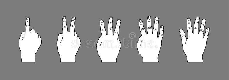 Illustrazione bianca di stile del fumetto di gesto di mano, segno della mano che contano numeri uno - cinque, linea arte o disegn illustrazione vettoriale