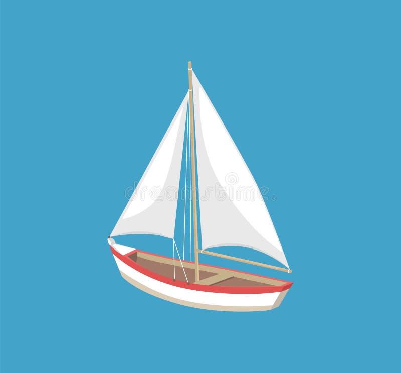 Illustrazione bianca di vettore di navigazione della tela della barca a vela illustrazione di stock