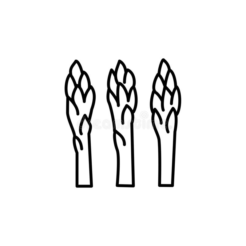 Illustrazione bianca e nera di vettore dei tiri dell'asparago di giardino illustrazione vettoriale