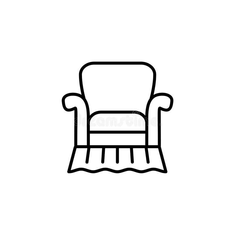 Illustrazione bianca e nera di vettore del armchai d'annata comodo illustrazione vettoriale