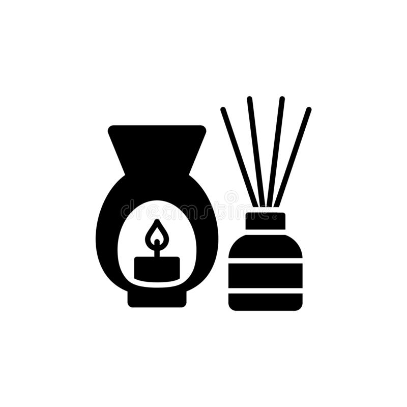 Illustrazione bianca e nera di vettore del bruciatore decorativo con cand illustrazione vettoriale
