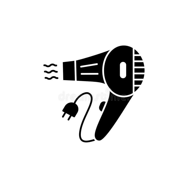 Illustrazione bianca e nera di vettore del fon tenuto in mano Icona piana dell'essiccatore del colpo per creare bella acconciatur illustrazione vettoriale