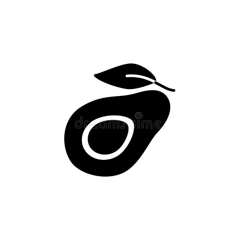 Illustrazione bianca e nera di vettore dell'avocado organico con la foglia illustrazione di stock