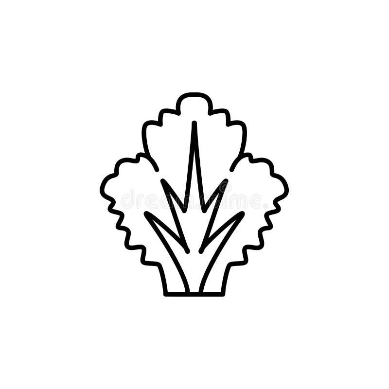 Illustrazione bianca e nera di vettore dell'ortaggio a foglia della lattuga lin royalty illustrazione gratis
