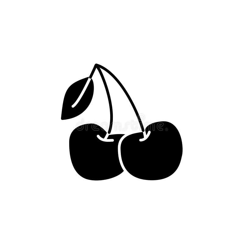 Illustrazione bianca e nera di vettore della ciliegia con la foglia Icona piana illustrazione vettoriale