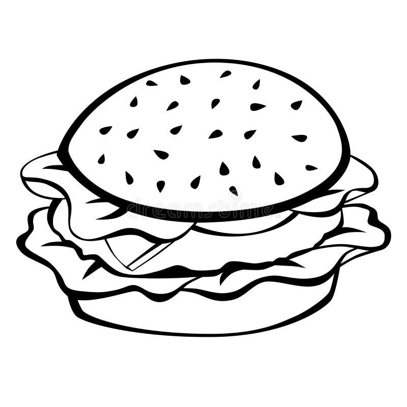Illustrazione bianca nera dell'alimento dell'hamburger illustrazione di stock