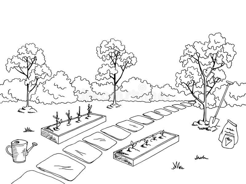 Illustrazione bianca nera grafica di schizzo del paesaggio dell'orto illustrazione vettoriale