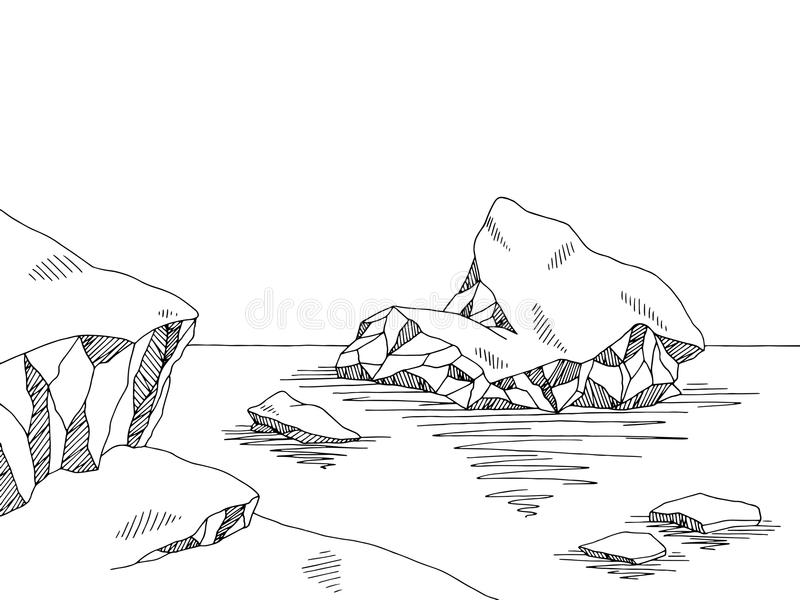 Illustrazione bianca nera grafica di schizzo dell'iceberg royalty illustrazione gratis