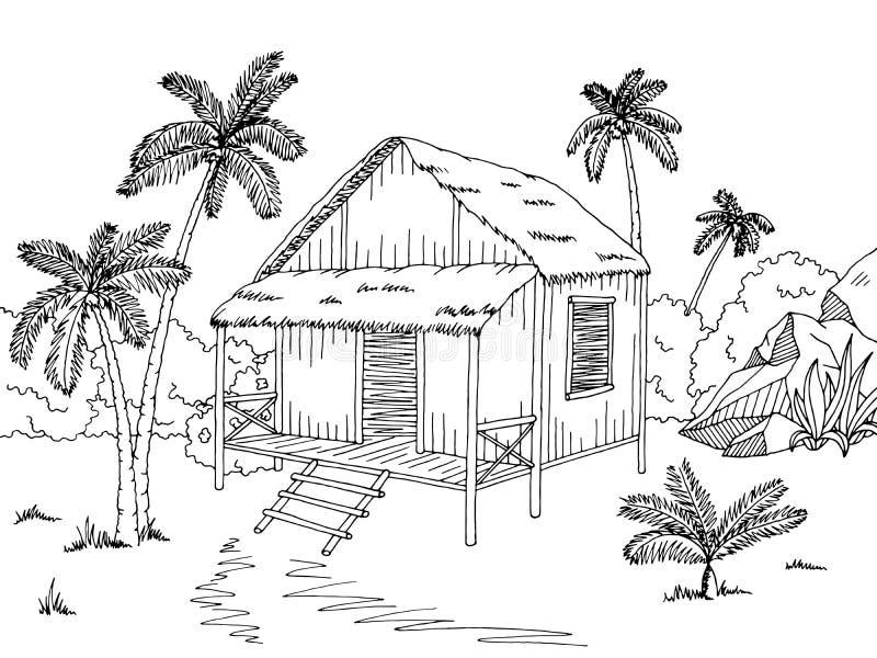 Illustrazione bianca nera grafica di schizzo della casa for Schizzo di piani di casa gratuiti