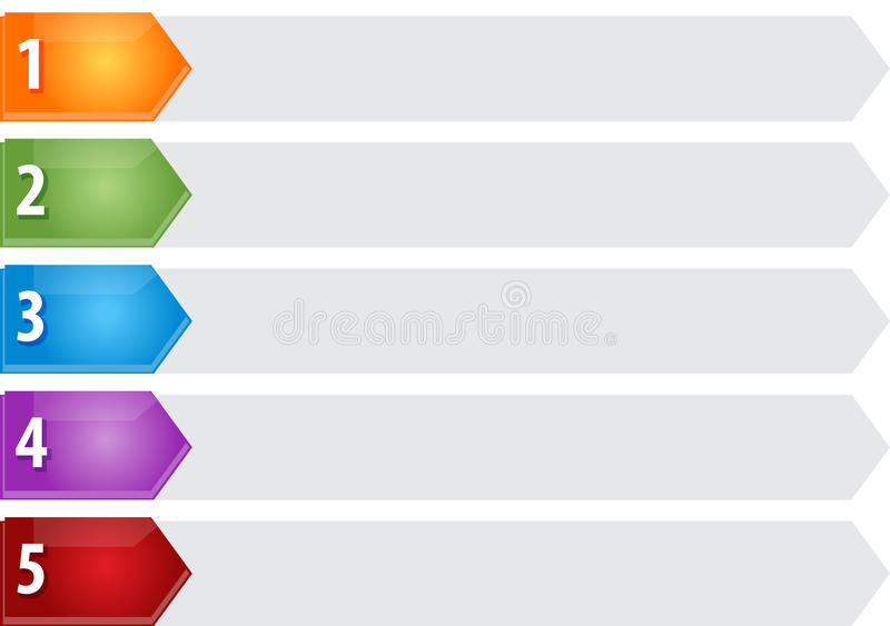 Illustrazione in bianco del diagramma di affari della lista cinque aguzzi illustrazione vettoriale