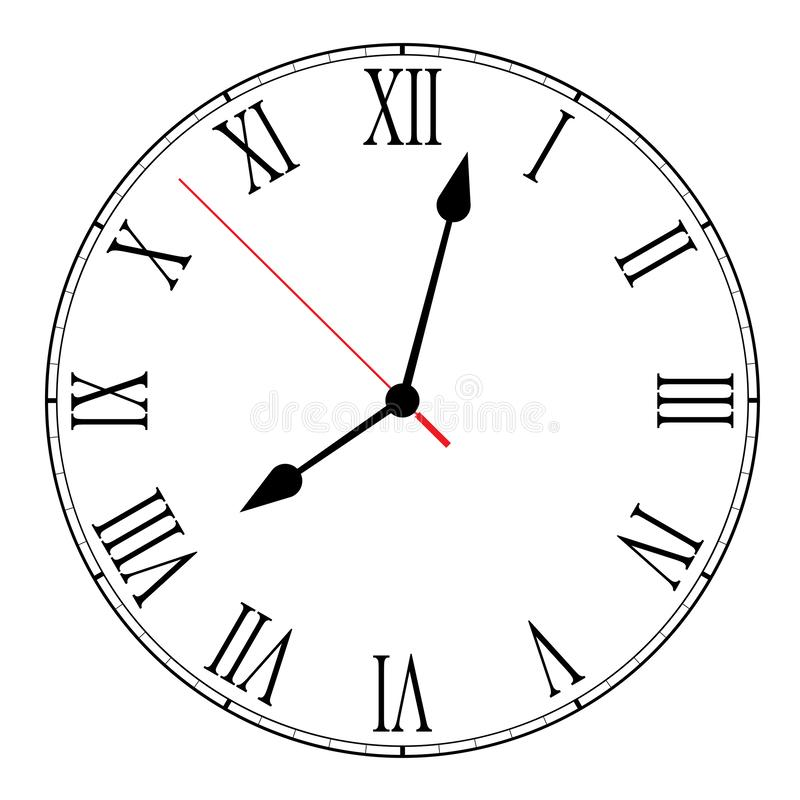 Illustrazione in bianco del fronte di orologio su bianco illustrazione di stock