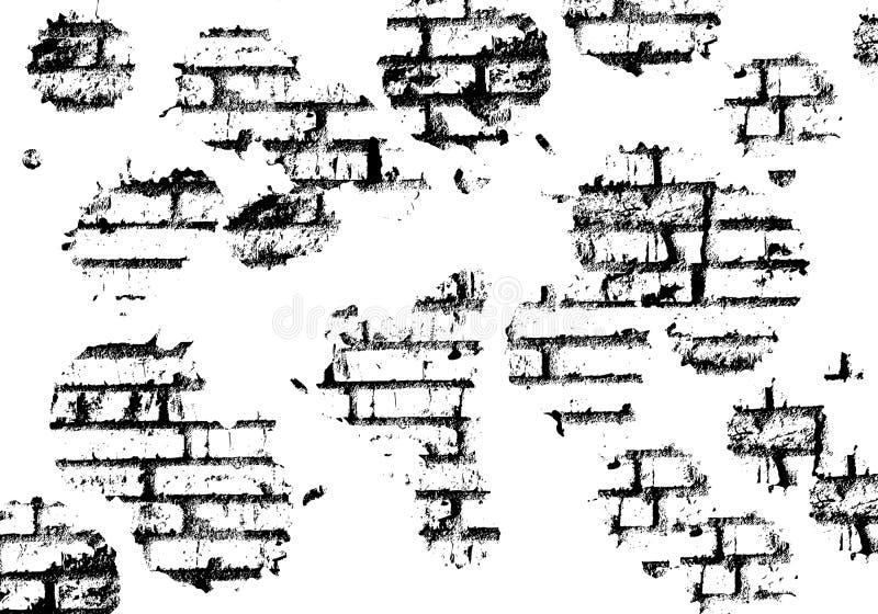 Illustrazione in bianco e nero approssimativa della parete di mattoni illustrazione vettoriale