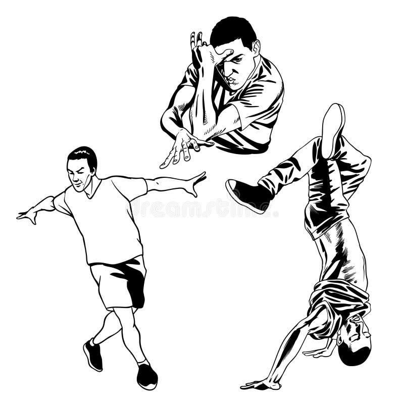Illustrazione in bianco e nero dei b-ragazzi ballanti illustrazione di stock