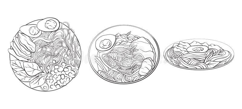 Illustrazione in bianco e nero del fumetto di contorno del ramen negli angoli differenti tagliatelle illustrazione vettoriale
