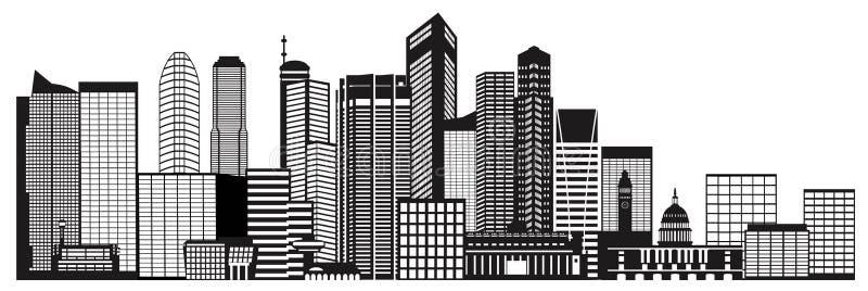Illustrazione in bianco e nero dell'orizzonte della città di Singapore illustrazione vettoriale