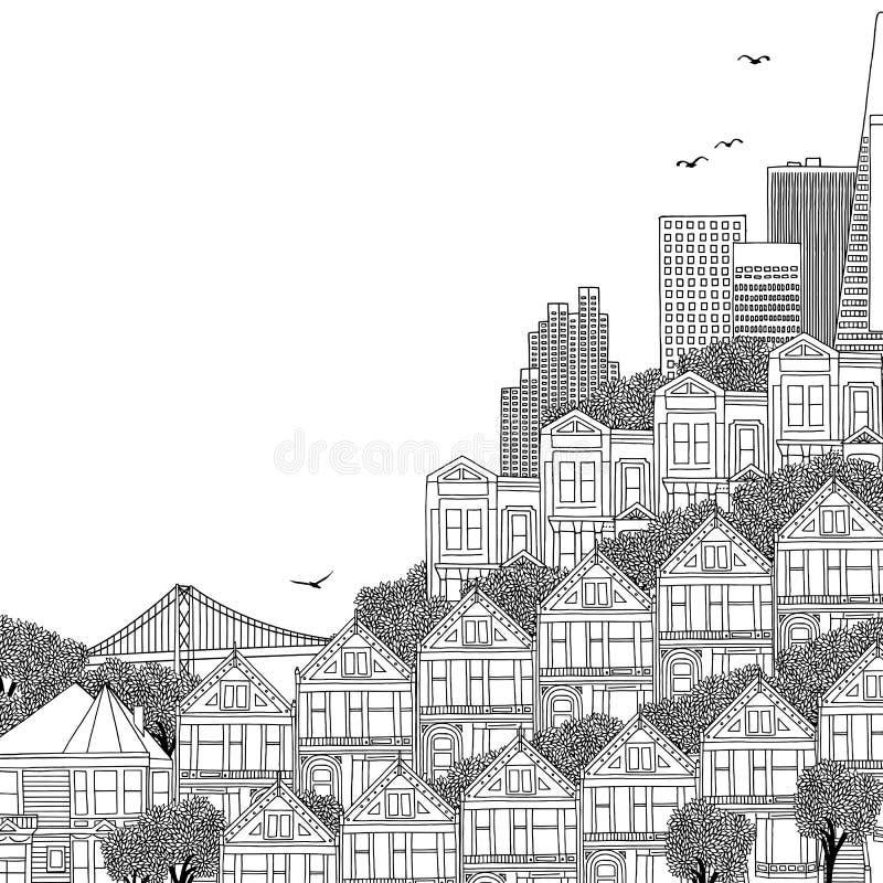Illustrazione in bianco e nero delle case a San Francisco illustrazione di stock