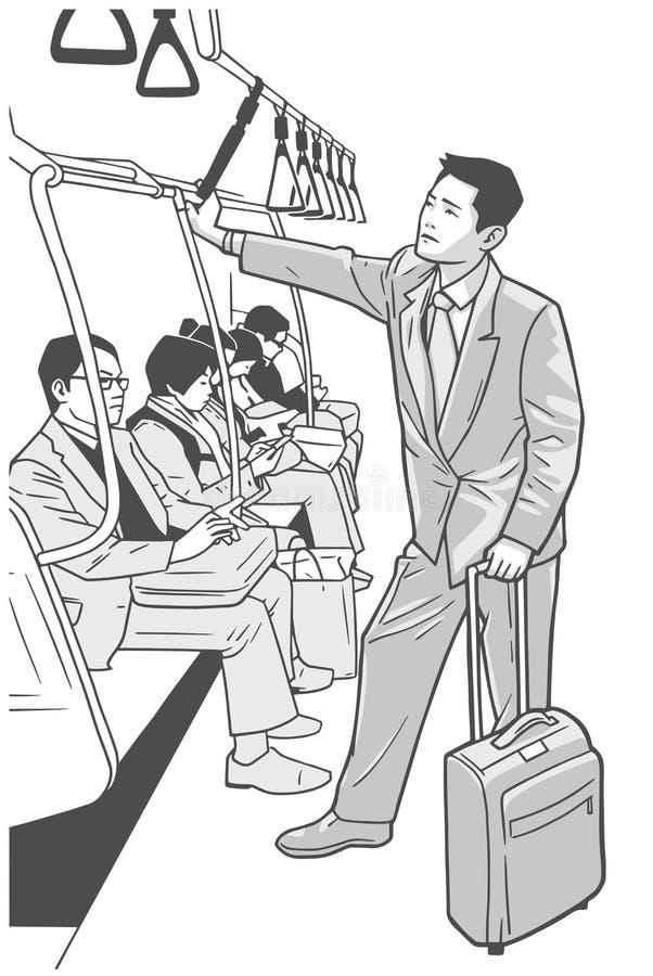 Illustrazione in bianco e nero di giovane uomo di affari sul viaggio di affari royalty illustrazione gratis