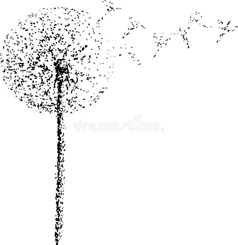 Illustrazione in bianco e nero di un dente di leone nel vento Fiore del paradiso royalty illustrazione gratis