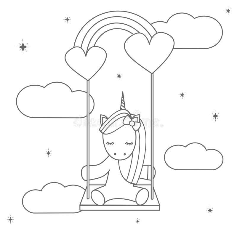 Illustrazione in bianco e nero di vettore del fumetto sveglio con l'unicorno adorabile che si siede su un'oscillazione dell'arcob illustrazione vettoriale