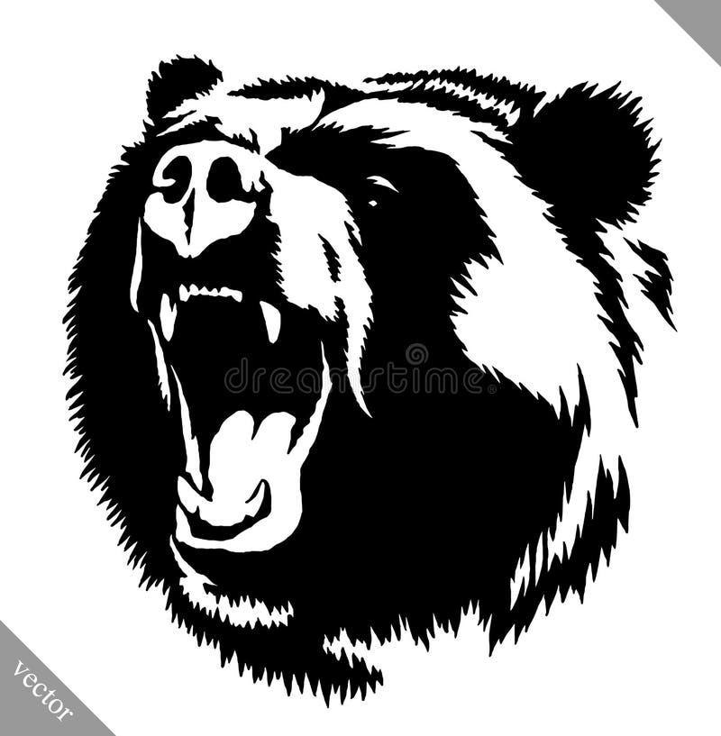 Illustrazione in bianco e nero di vettore dell'orso di tiraggio dell'inchiostro illustrazione di stock