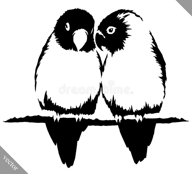 Illustrazione in bianco e nero di vettore dell'uccello del pappagallo di tiraggio della pittura royalty illustrazione gratis