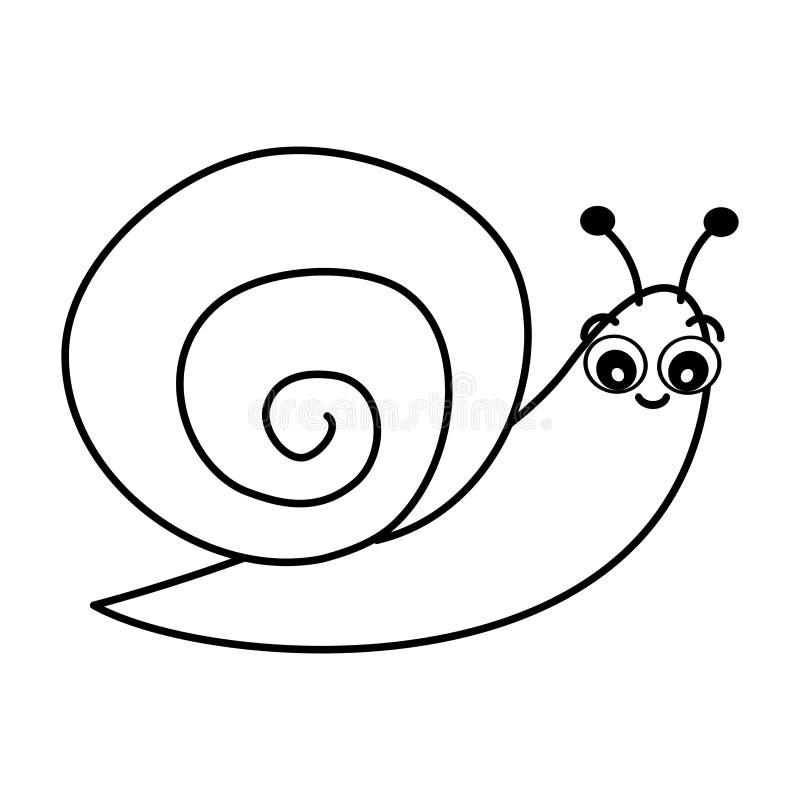 Illustrazione in bianco e nero di vettore della lumaca del fumetto sveglio per arte di coloritura illustrazione vettoriale