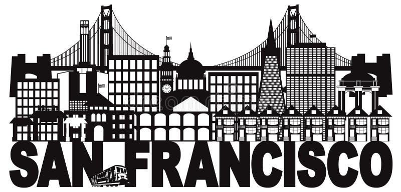 Illustrazione in bianco e nero di vettore di San Francisco Skyline e del testo illustrazione vettoriale