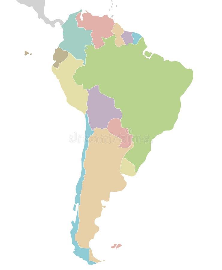 Illustrazione in bianco politica di vettore della mappa del Sudamerica isolata su fondo bianco illustrazione vettoriale