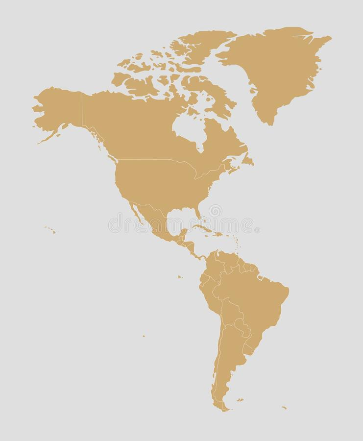 Illustrazione in bianco politica di vettore della mappa dell'America royalty illustrazione gratis