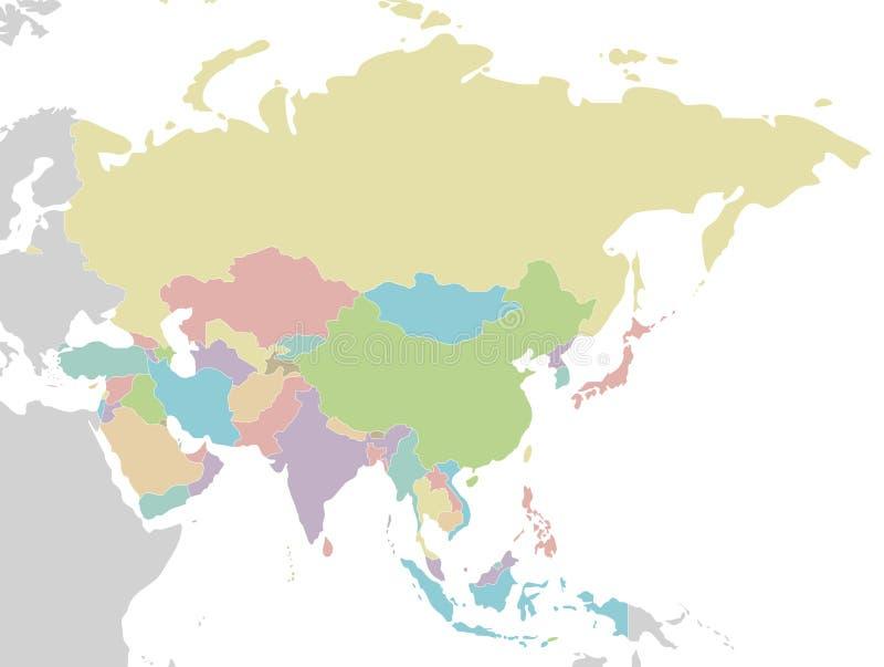 Illustrazione in bianco politica di vettore della mappa dell'Asia isolata su fondo bianco illustrazione vettoriale