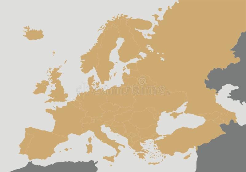 Illustrazione in bianco politica di vettore della mappa di Europa illustrazione di stock