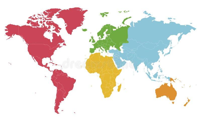 Illustrazione in bianco politica di vettore della mappa di mondo con differenti colori per ogni continente ed isolati su fondo bi illustrazione di stock