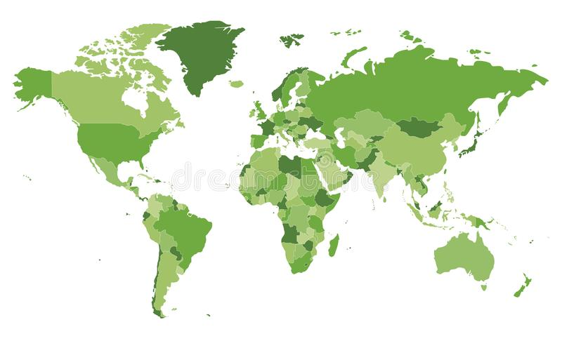 Illustrazione in bianco politica di vettore della mappa di mondo con differenti toni di verde per ogni paese royalty illustrazione gratis