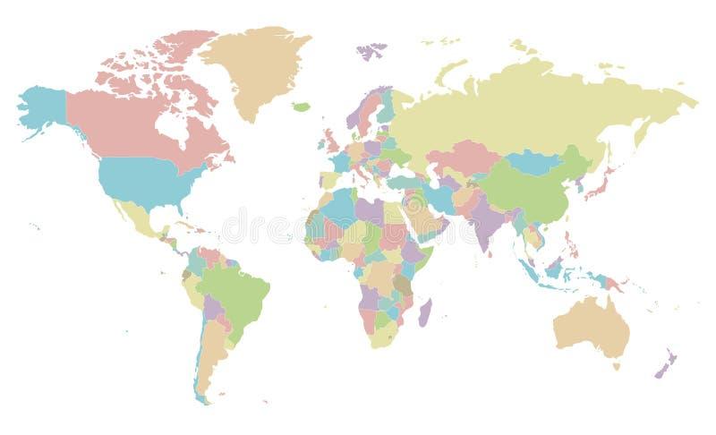 Illustrazione in bianco politica di vettore della mappa di mondo isolata su fondo bianco illustrazione di stock