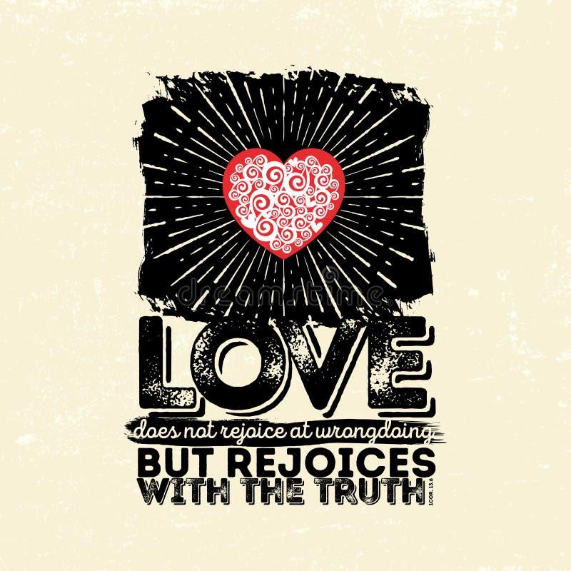 Illustrazione biblica Cristiano tipografico L'amore non si rallegra ai misfatti ma si rallegra con la verità, 1 13:6 dei Corinthi illustrazione di stock