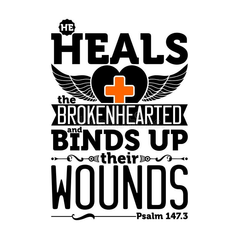 Illustrazione biblica Guarisce il dal cuore infranto e lega le loro ferite illustrazione vettoriale