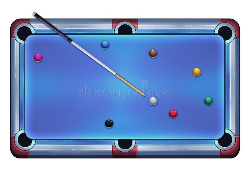 Illustrazione: Biliardo con le palle e la stecca da biliardo royalty illustrazione gratis