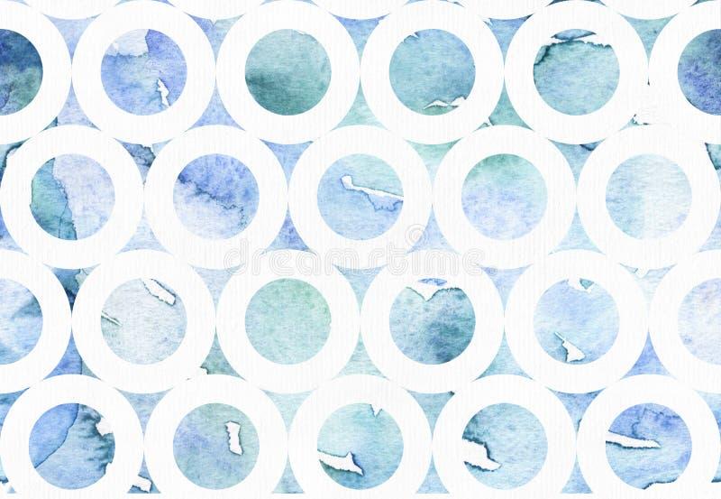 Illustrazione blu astratta con il modello assorbente a mano libera del bagel dell'acquerello Fondo disegnato a mano dell'acqua e  fotografie stock