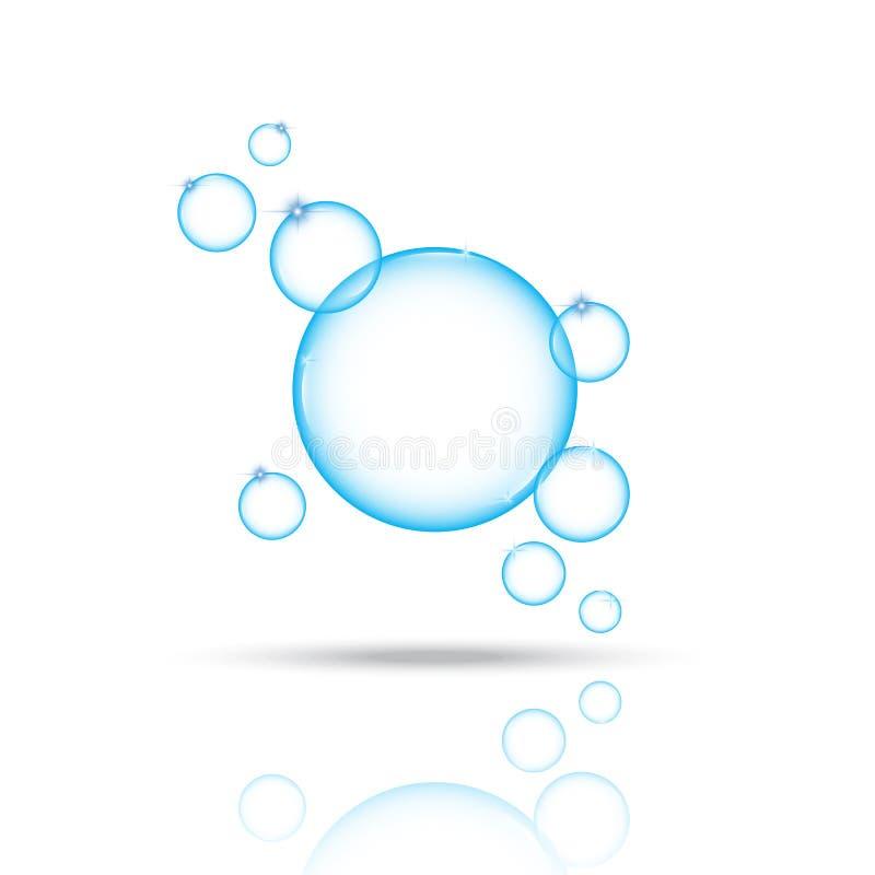 Illustrazione blu brillante di vettore delle bolle royalty illustrazione gratis