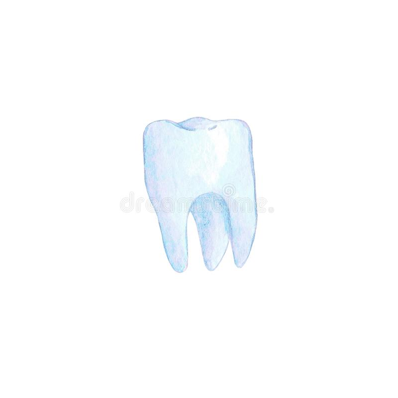 Illustrazione blu del dente dell'acquerello illustrazione di stock