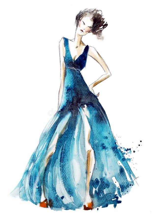 Illustrazione blu di modo del vestito, pittura dell'acquerello illustrazione di stock