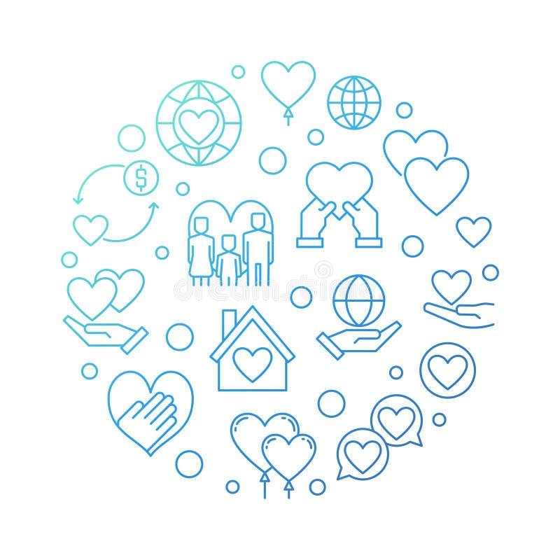 Illustrazione blu di vettore circolare di organizzazione no-profit illustrazione vettoriale