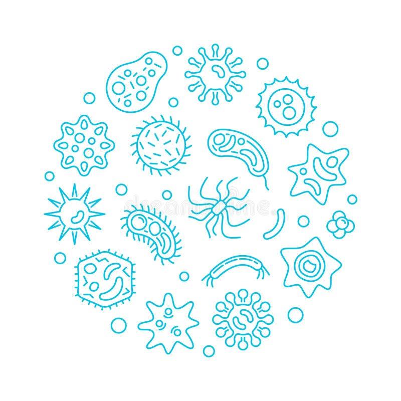 Illustrazione blu di vettore del giro di microbiologia e di batteriologia illustrazione di stock