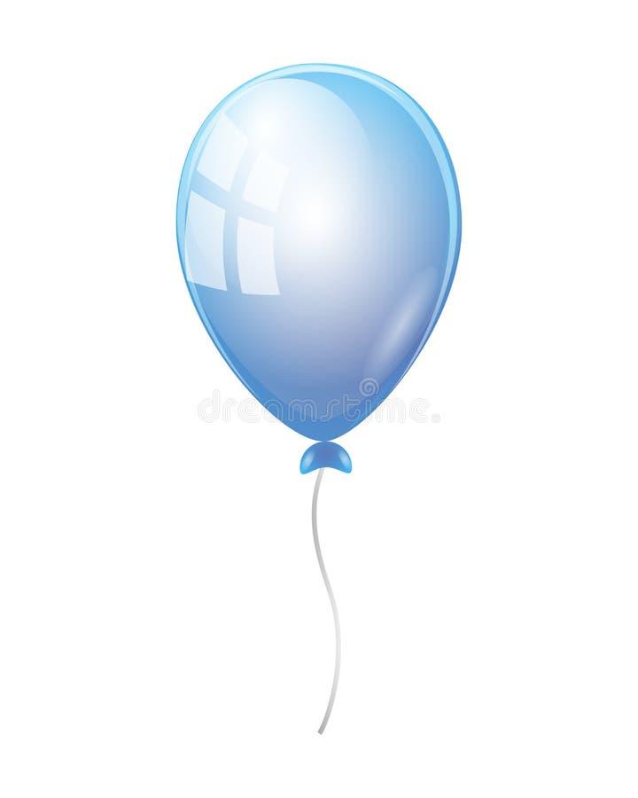 Illustrazione blu realistica di vettore del pallone isolata sul BAC bianco illustrazione di stock