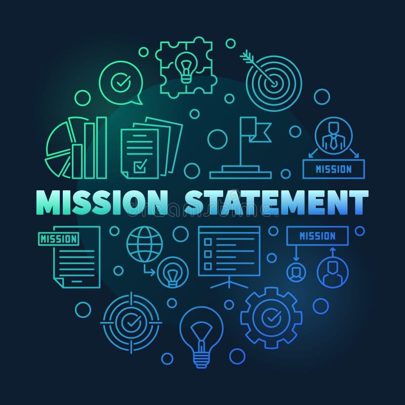 Illustrazione blu rotonda del profilo di dichiarazione di missione di vettore illustrazione vettoriale
