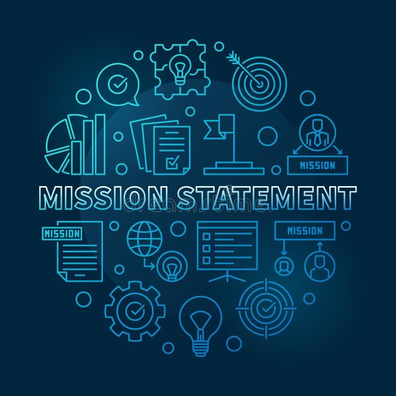 Illustrazione blu rotonda del profilo di vettore di dichiarazione di missione illustrazione vettoriale