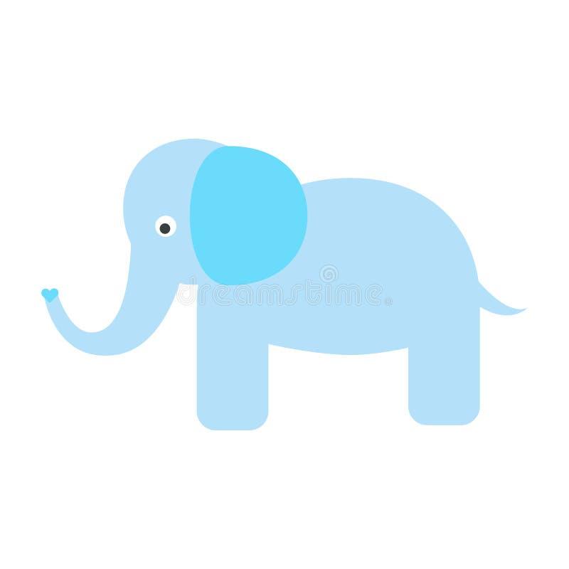 Illustrazione blu sveglia di vettore dell'elefante royalty illustrazione gratis